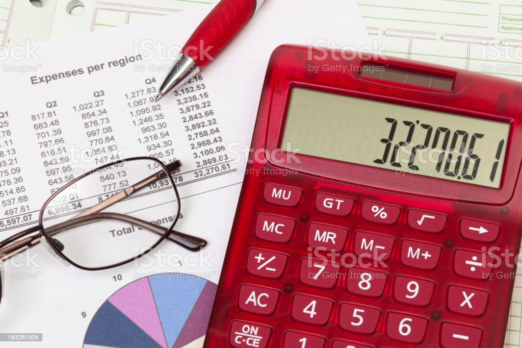 Calculator and report with pie chart royalty-free stock photo
