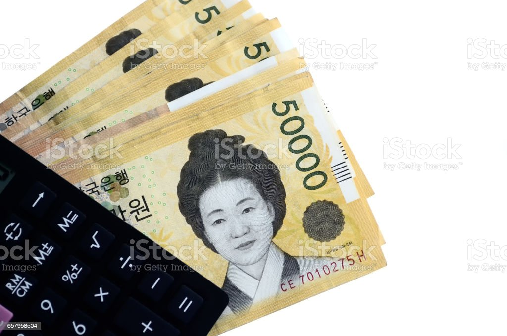 Calculator and South Korean currency Won stock photo