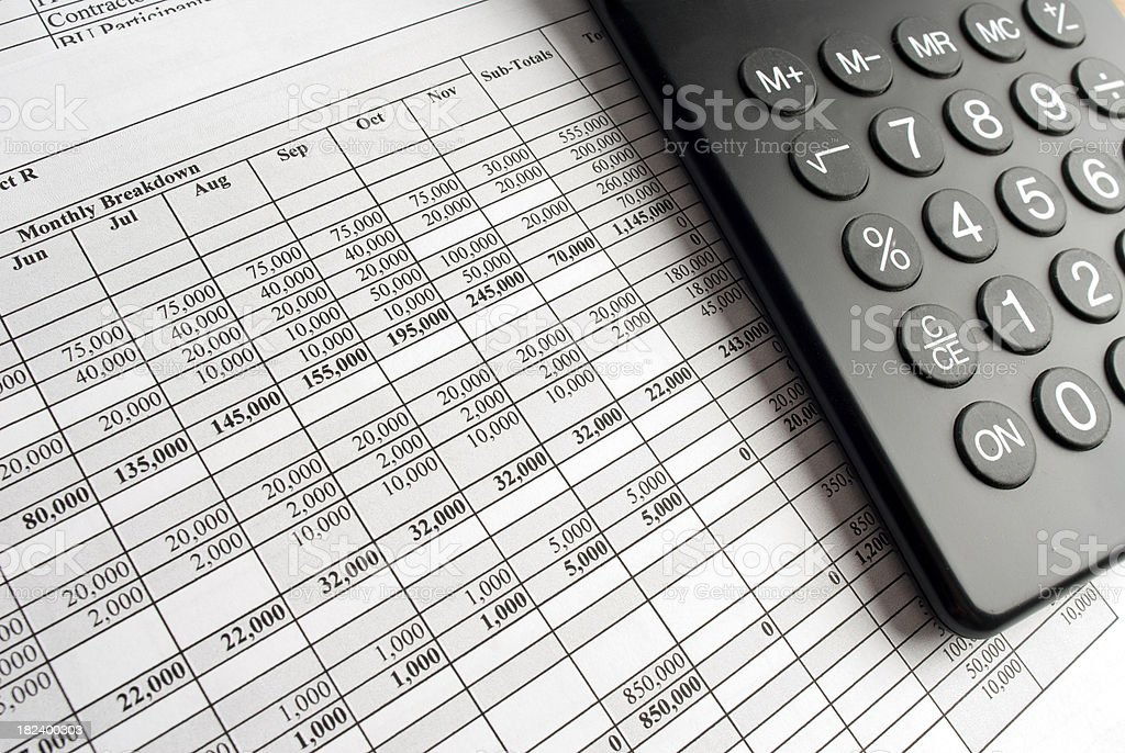 Calculator and Spreadsheet royalty-free stock photo