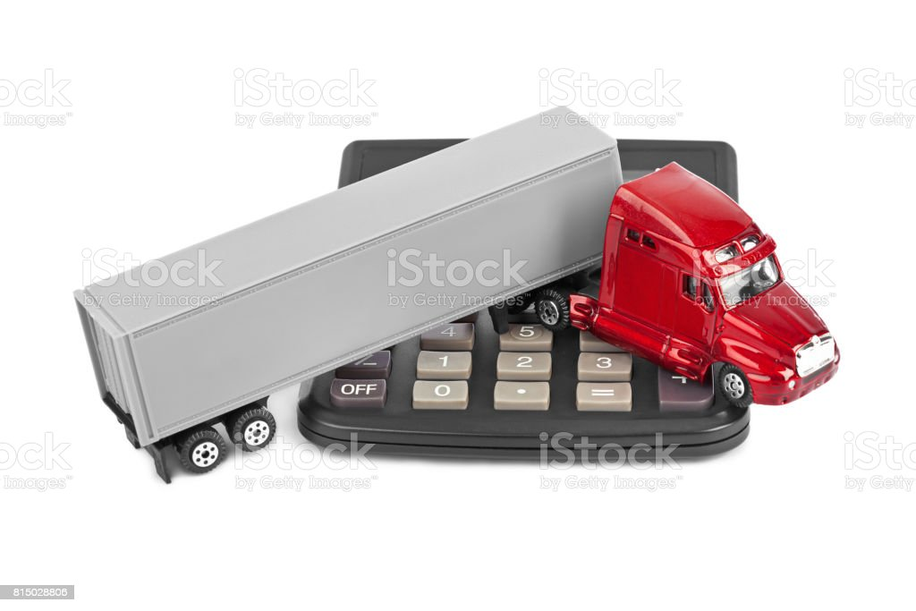 Calculator and toy truck car stock photo