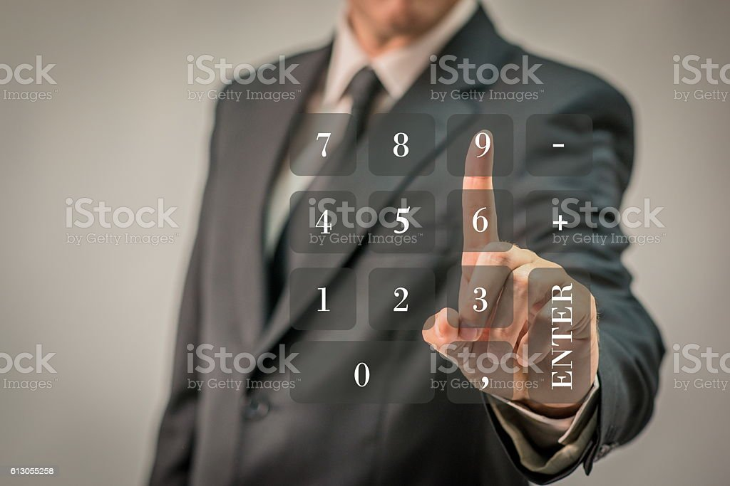 Calculator/ Cell phone/ Security/ Touch screen concept stock photo