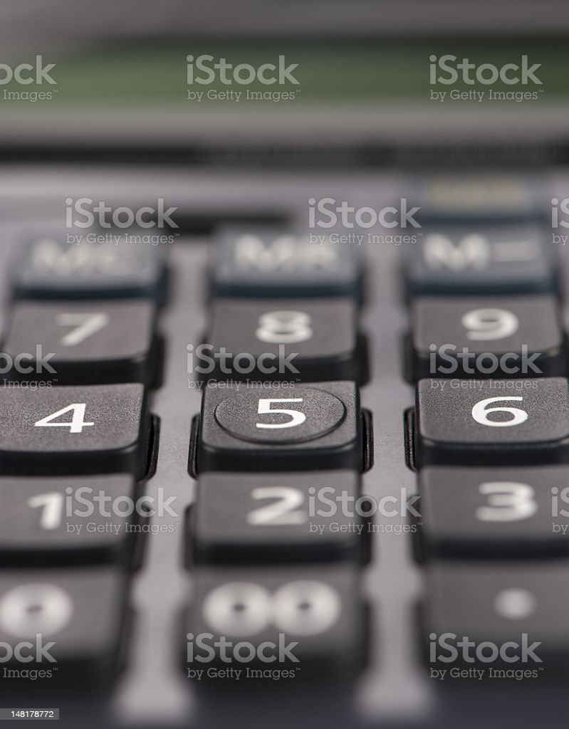 Calculator digits focused on the number five stock photo