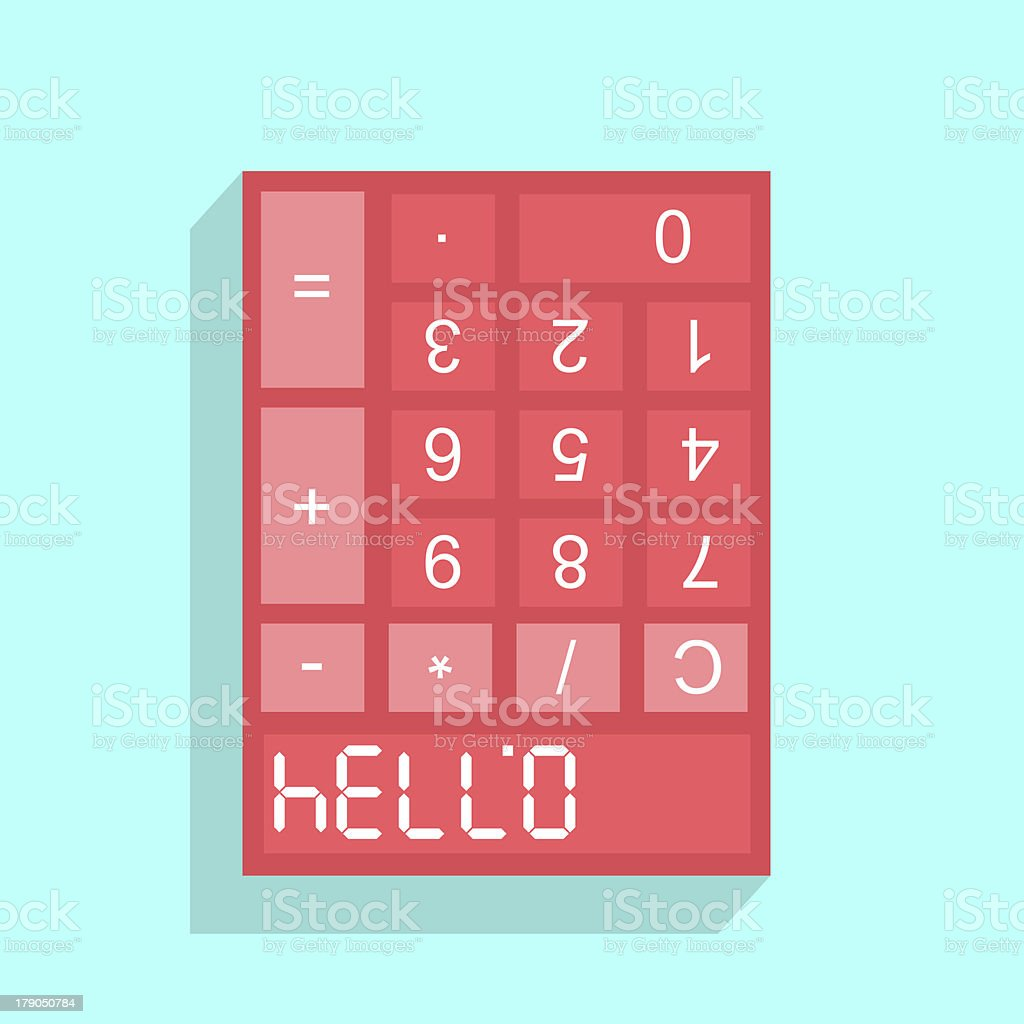 Calculator display with HELLO - 07734 royalty-free stock photo