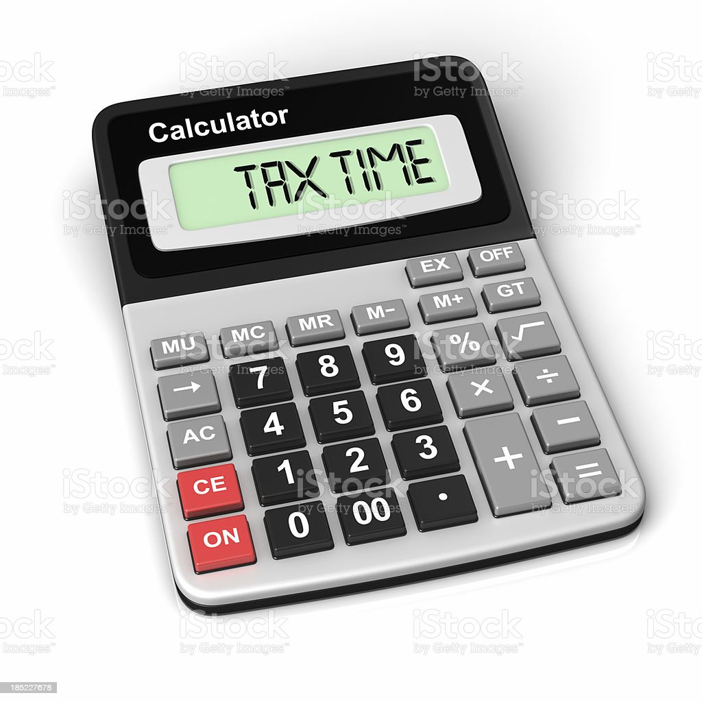 A calculator featuring the words tax time on white stock photo