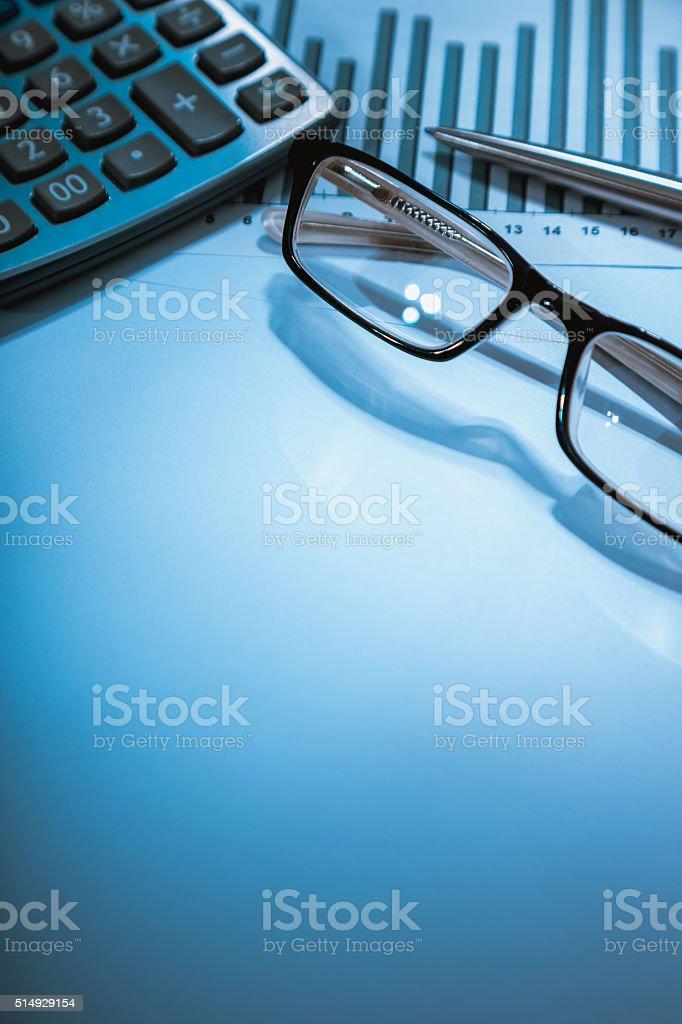calculator, glasses, graph (data analysis) stock photo