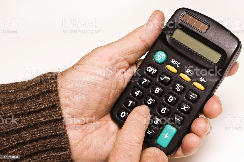 Calculator in hands royalty-free stock photo