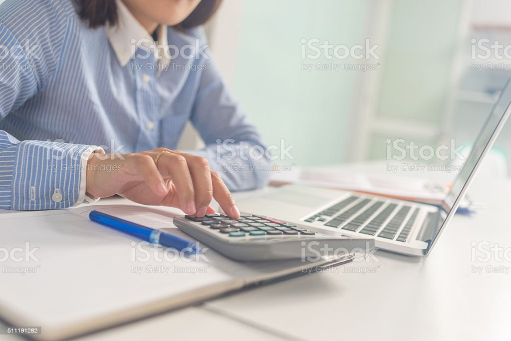 Calculator is gradually replaced by computer and smartphone stock photo
