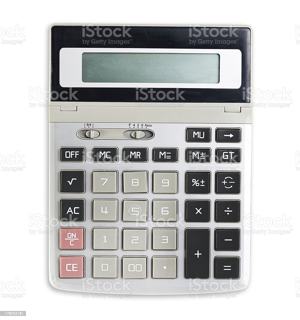 Calculator isolated on a white background royalty-free stock photo