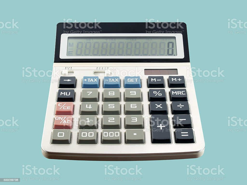calculator isolated on blue background stock photo