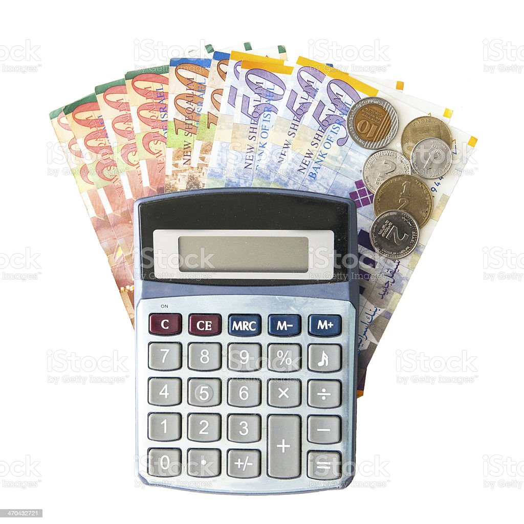 Calculator, Israeli Shekel Notes And coins isolated on white stock photo