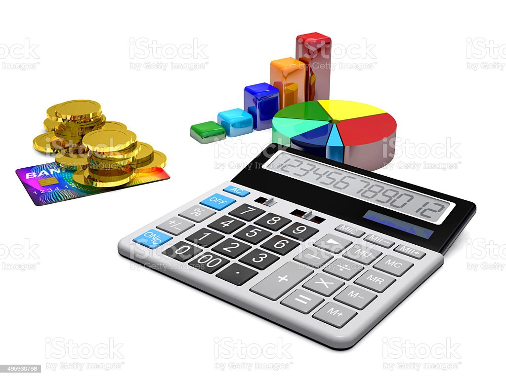 Calculator, money, credit cards and diagrams. stock photo