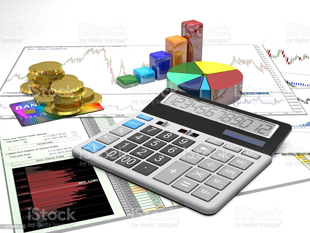 Calculator, money, credit cards are on a business background. stock photo