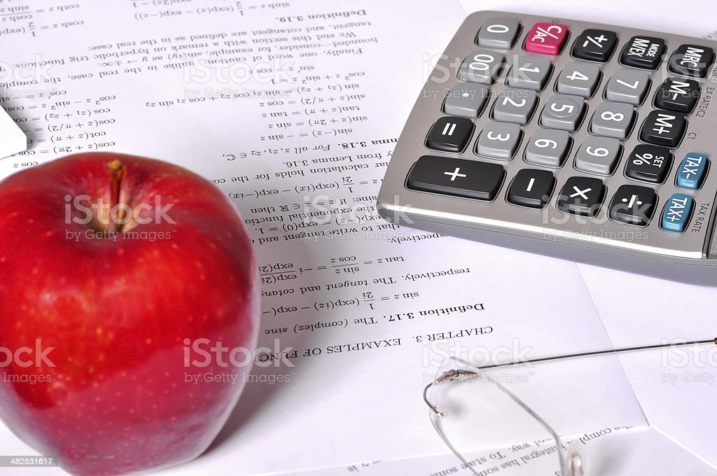 Calculator Next to Maths Exercises royalty-free stock photo