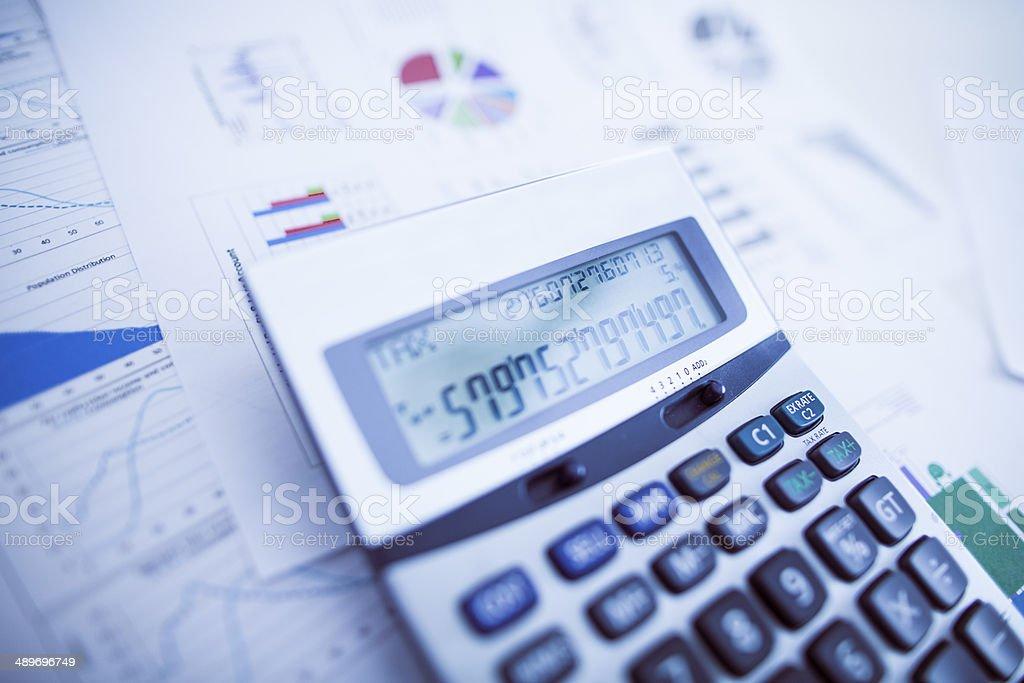 Calculator on a desk stock photo