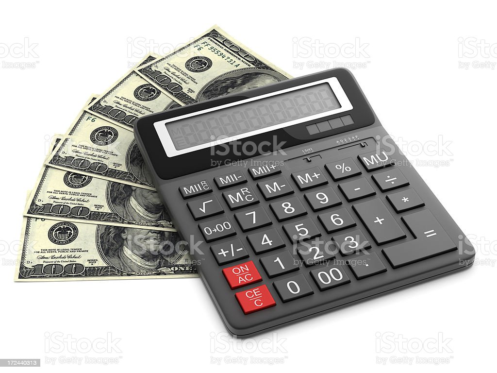 Calculator on dollars royalty-free stock photo