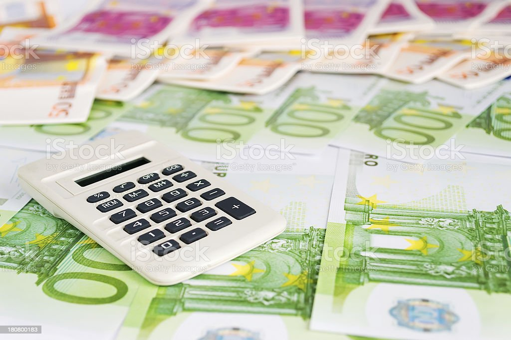 calculator on money royalty-free stock photo