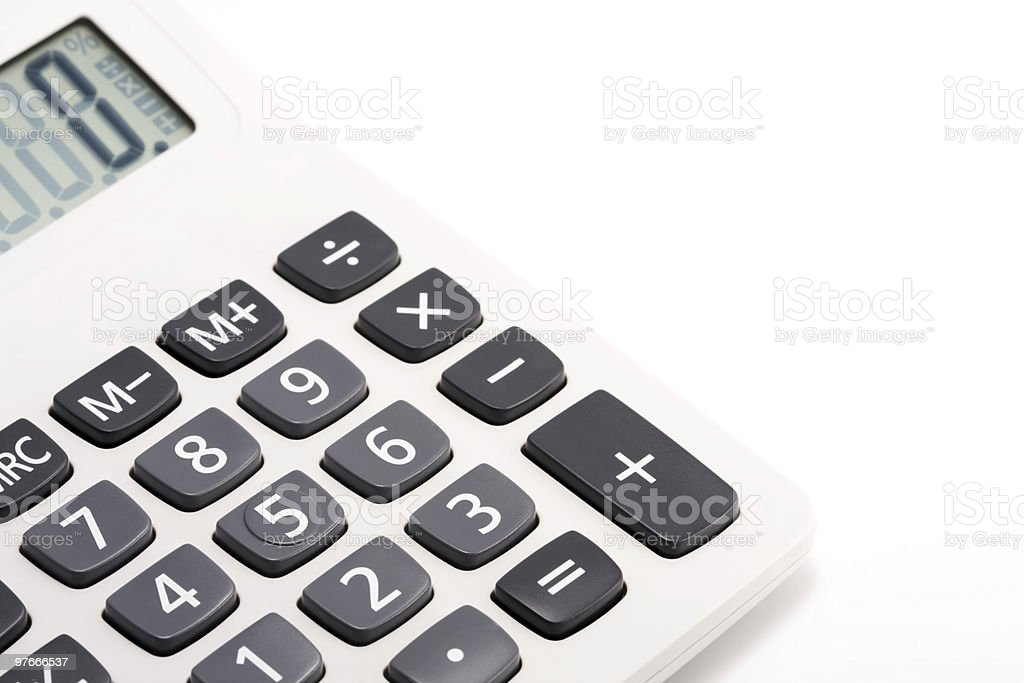 Calculator on white with black buttons royalty-free stock photo