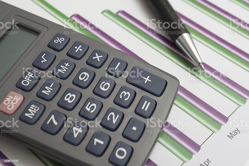Calculator ond Pen royalty-free stock photo