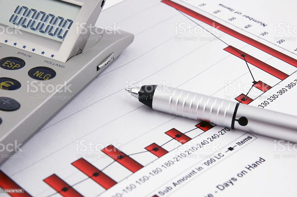 Calculator, pen and Business Chart royalty-free stock photo