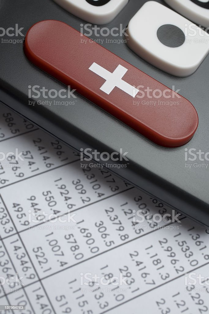 Calculator + sign royalty-free stock photo