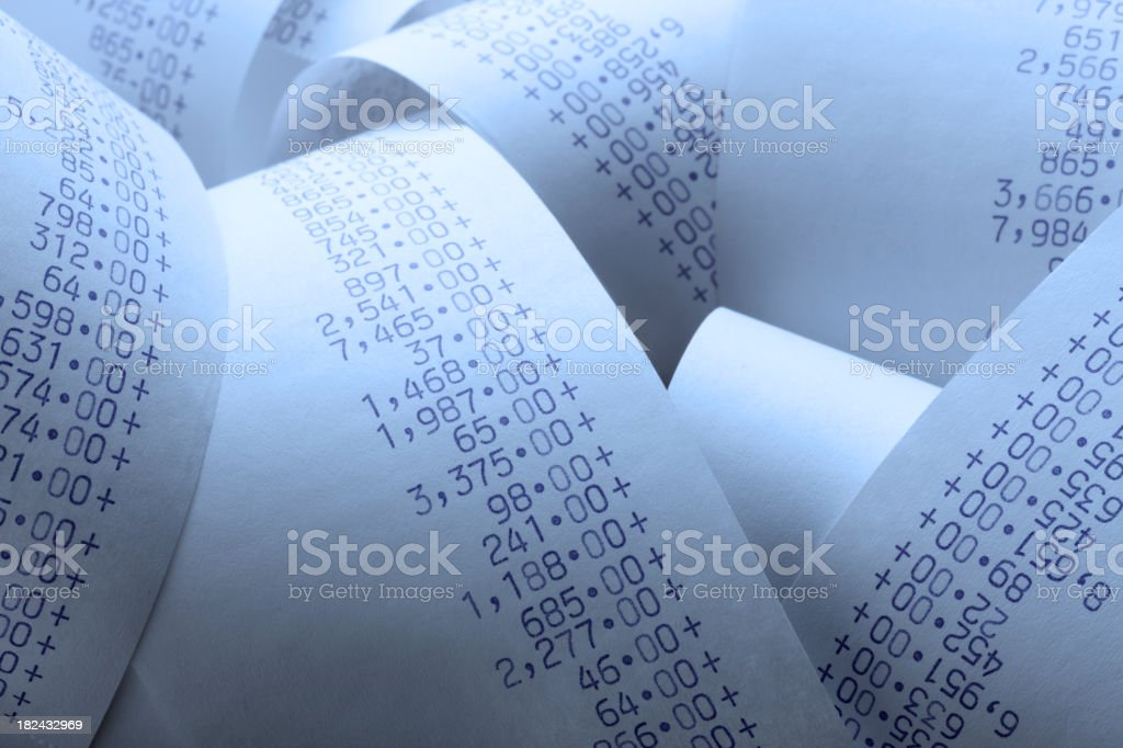 Calculator Tape stock photo