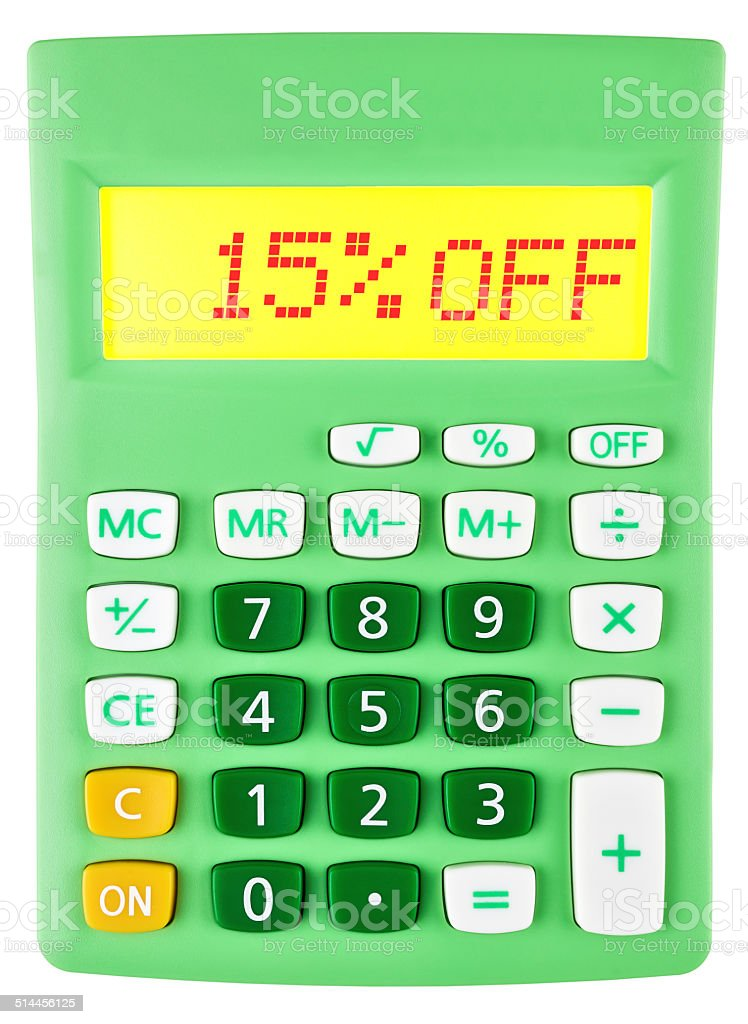 Calculator with 15%OFF on display on white background stock photo
