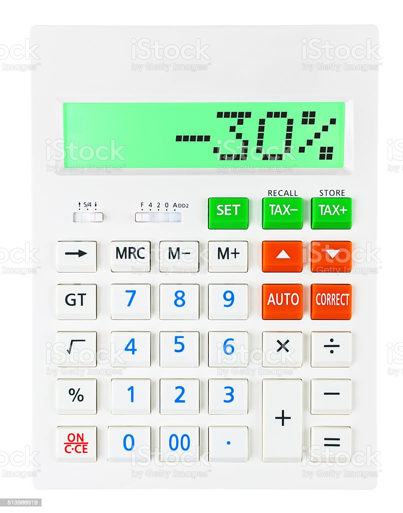 Calculator with -30% on display on white background stock photo