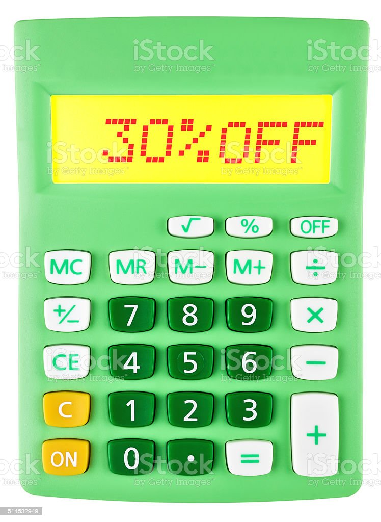 Calculator with 30%OFF on display on white background stock photo