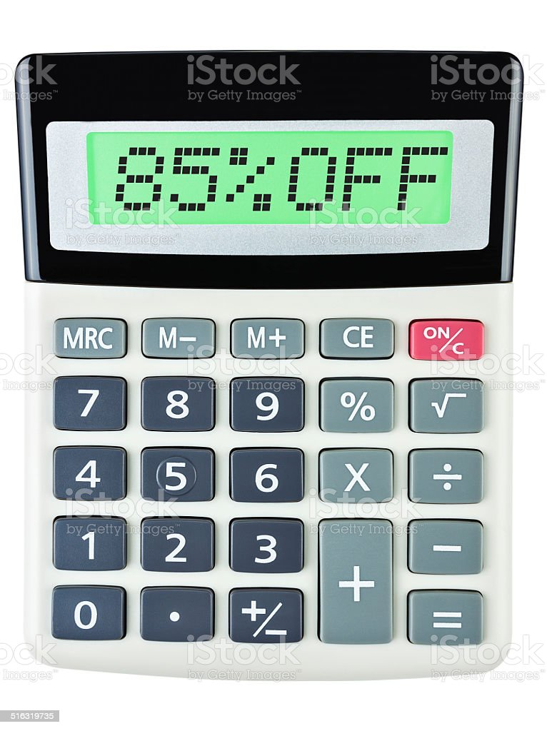 Calculator with 85%OFF on display on white background stock photo