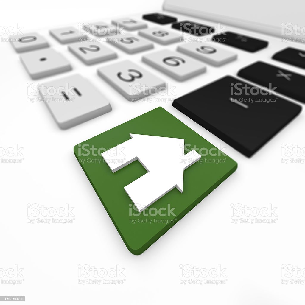 A calculator with a green house symbol key embedded  royalty-free stock photo