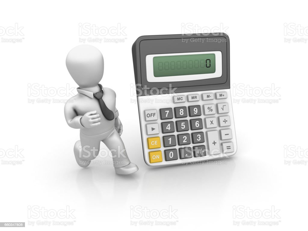 Calculator with Business Person Running - 3D Rendering stock photo