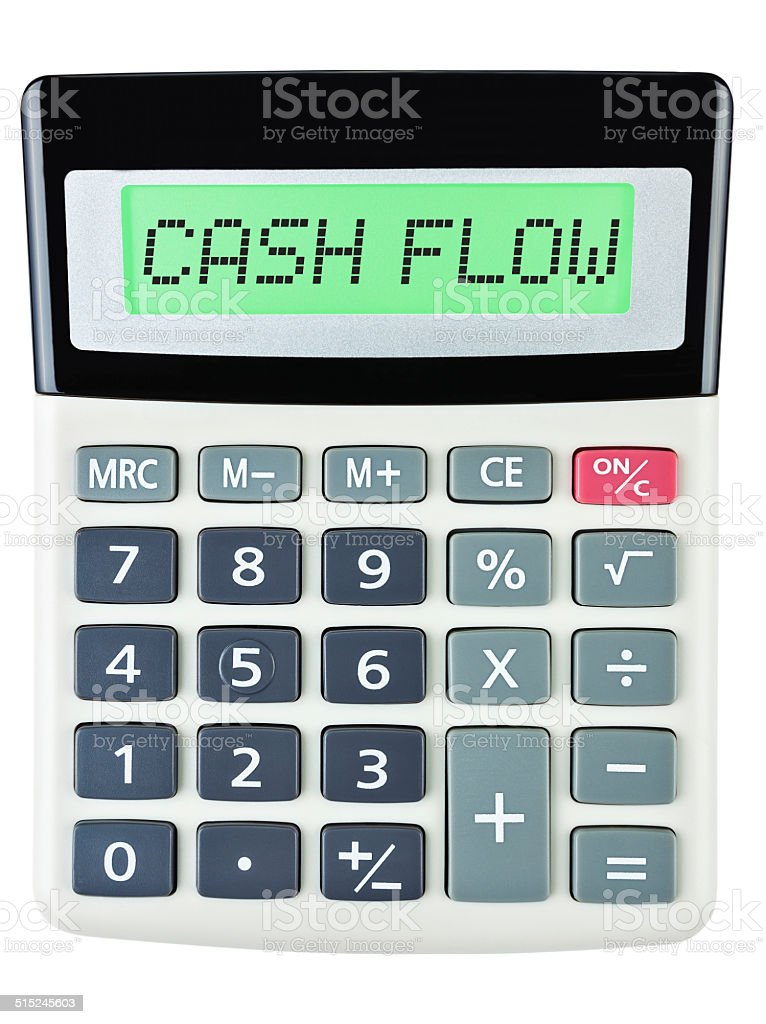 Calculator with CASH FLOW on display on white background stock photo