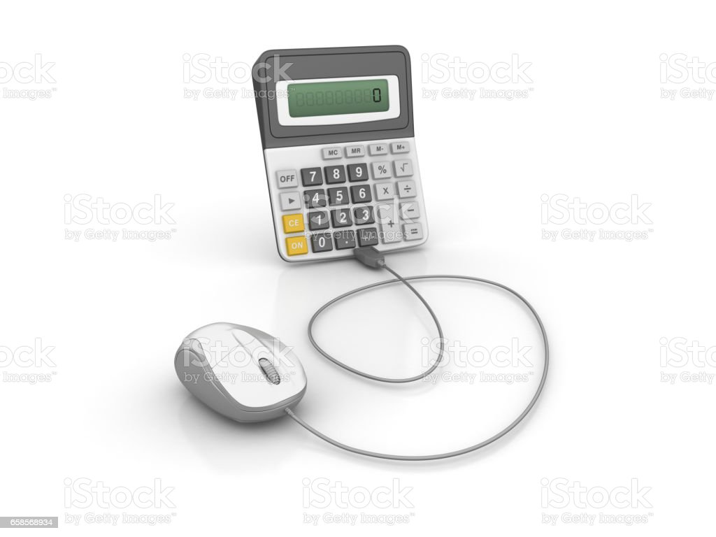 Calculator with Computer Mouse - 3D Rendering stock photo