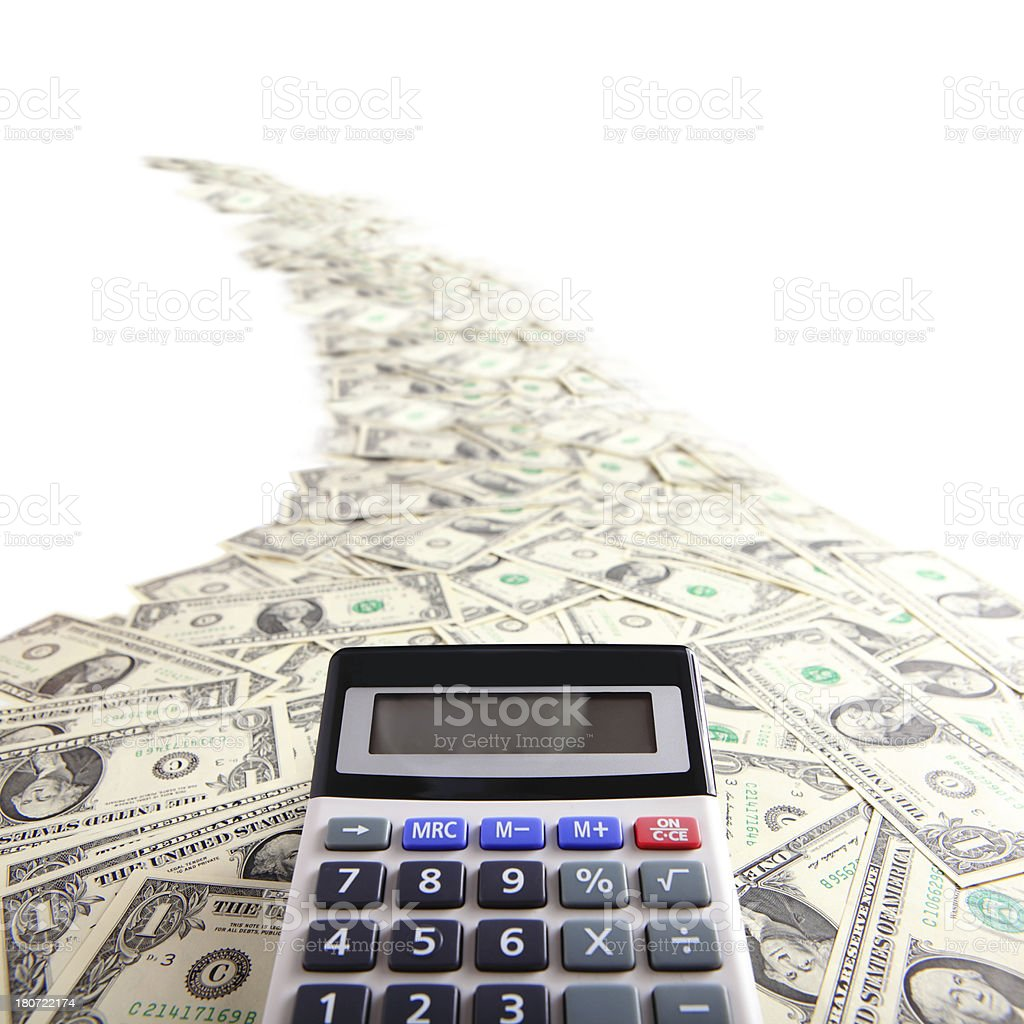 calculator with money royalty-free stock photo