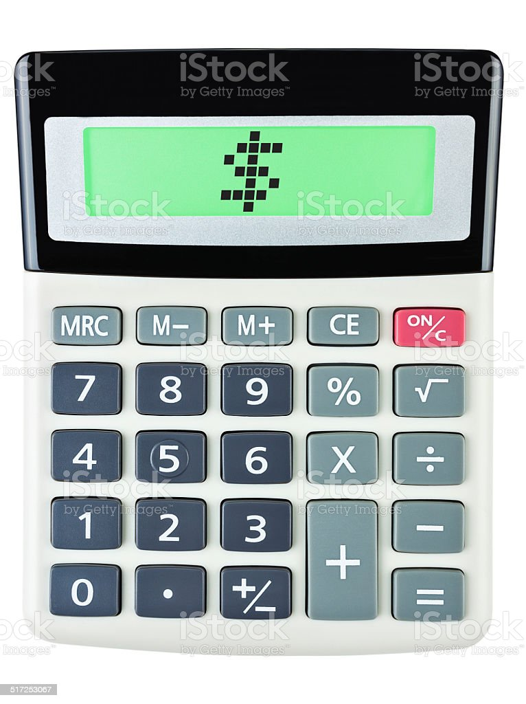 Calculator with $ on display on white background stock photo