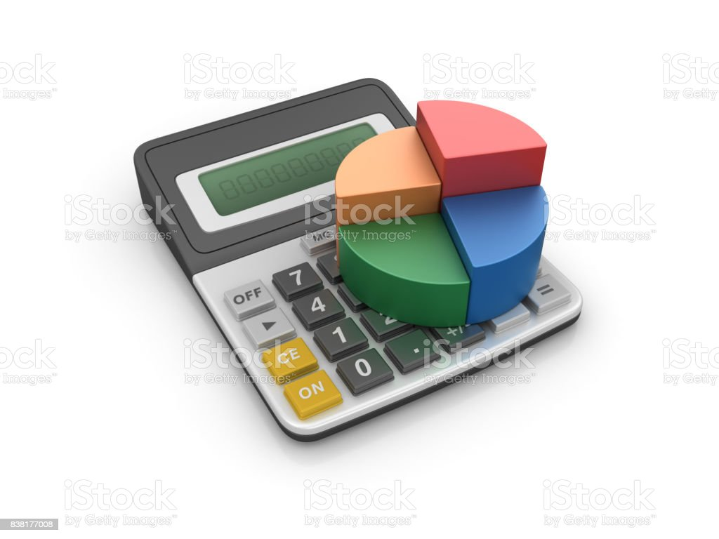 Calculator with Pie Chart - 3D Rendering stock photo