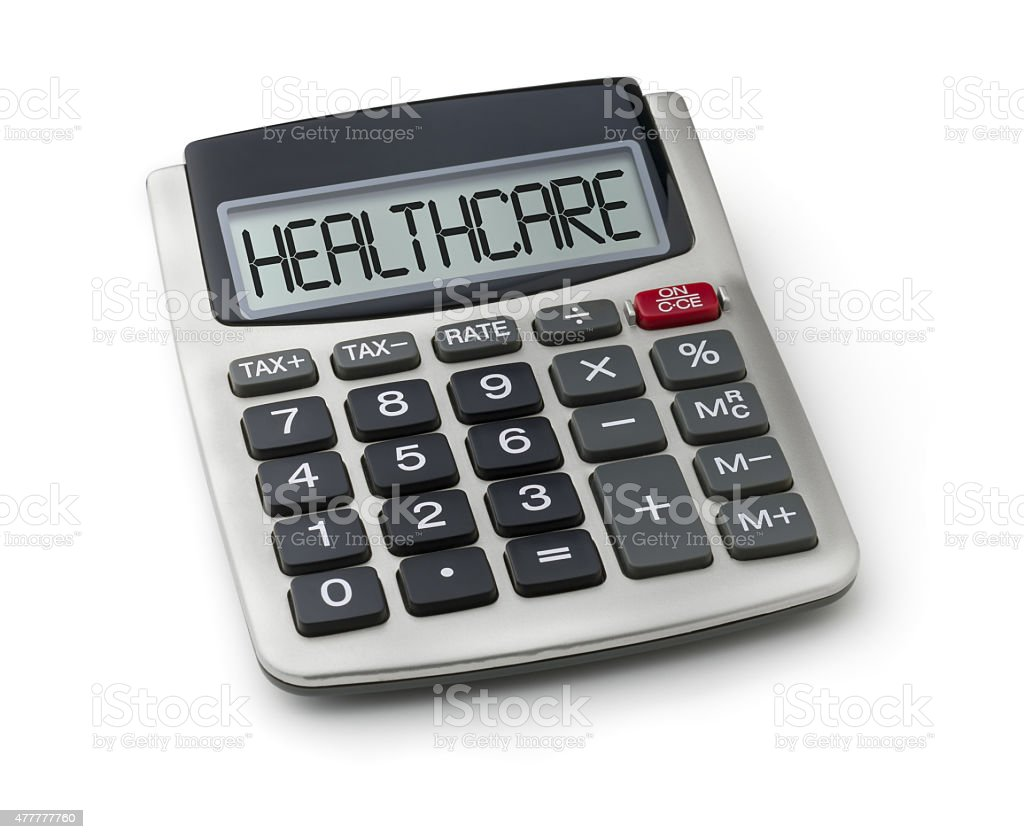 Calculator with the word healthcare on the display stock photo