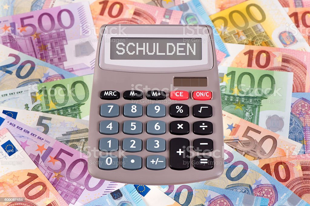 calculator with title liabilities stock photo
