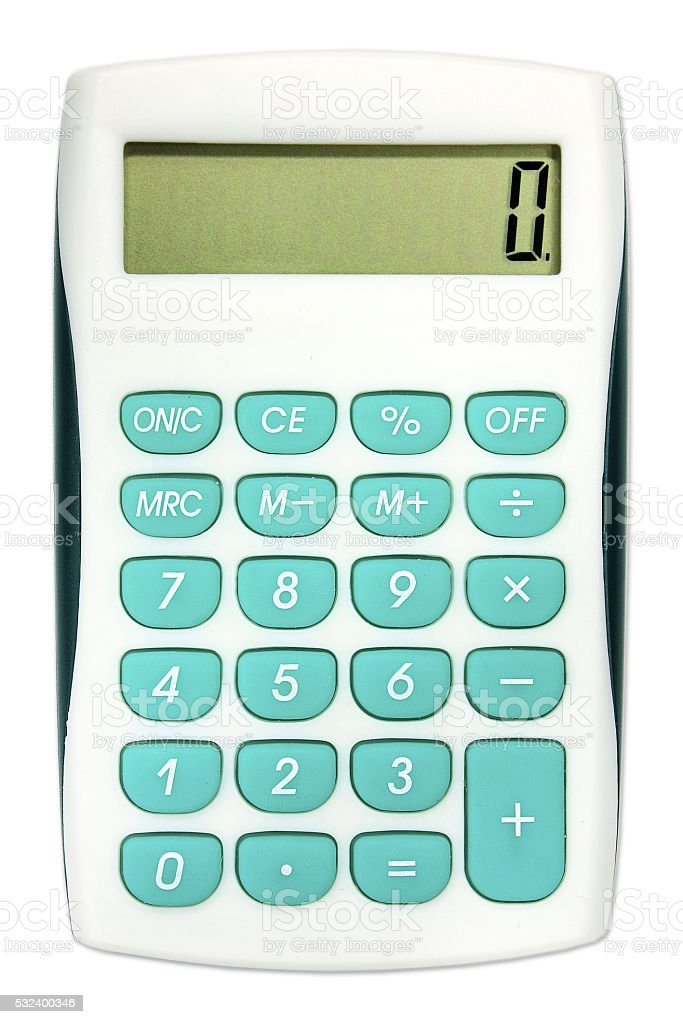 Calculator with turquoise color buttons stock photo