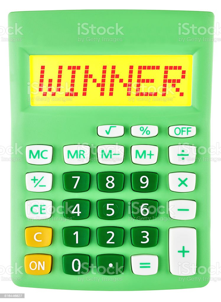 Calculator with WINNER on display on white background stock photo