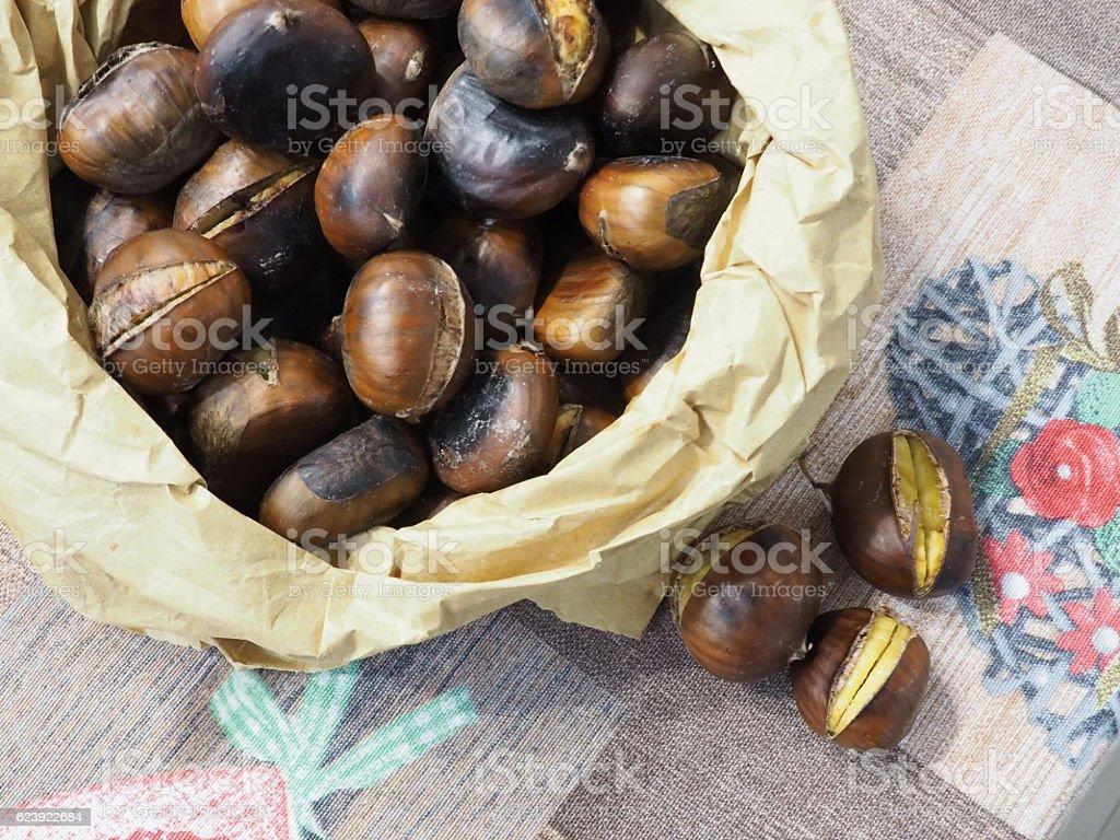 caldarroste in tavola stock photo