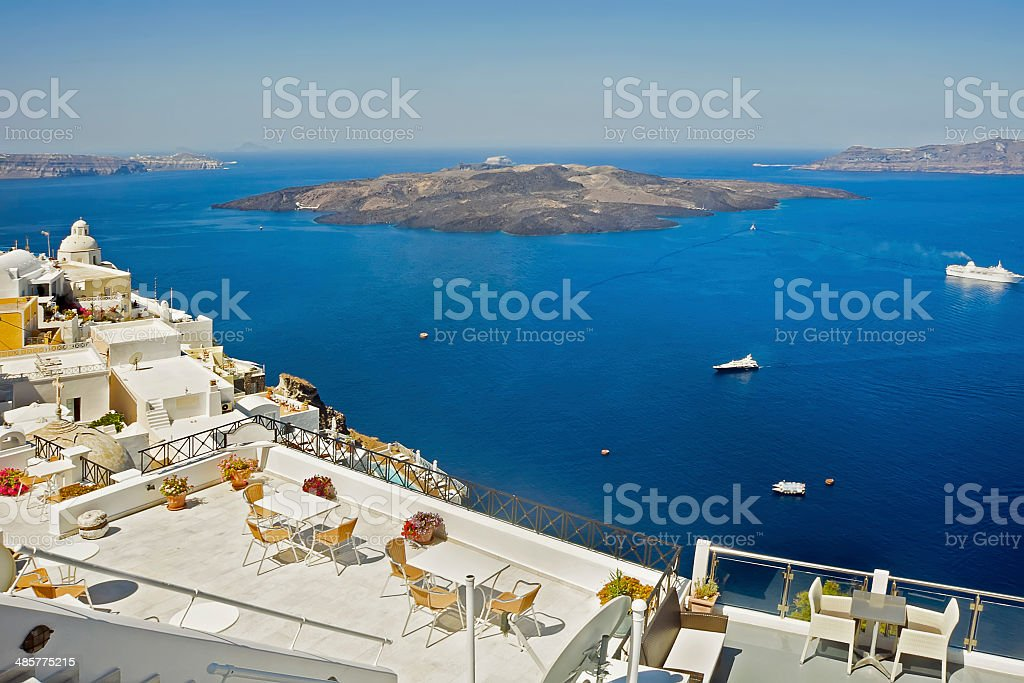 Caldera at Santorini, Greece stock photo