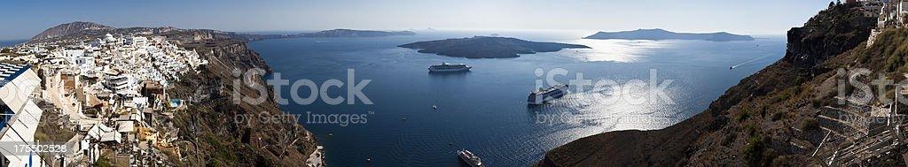 Caldera from Fira (XXXL panorama) royalty-free stock photo