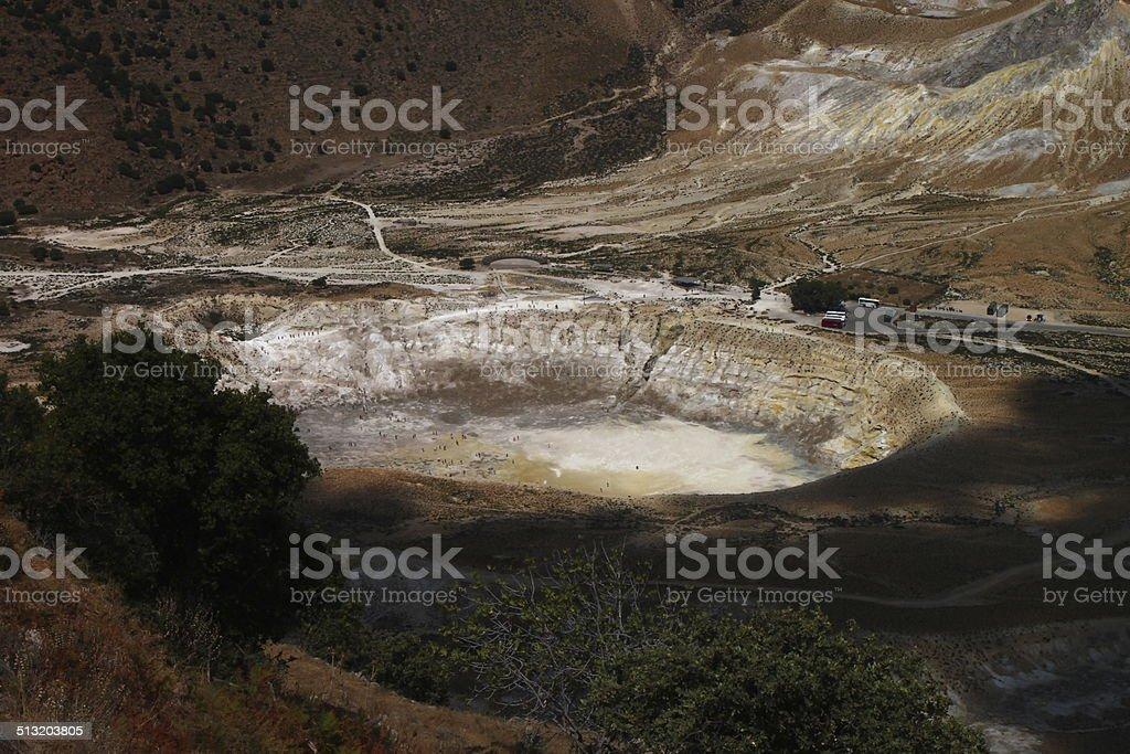 Caldera of a volcano in the mountains stock photo