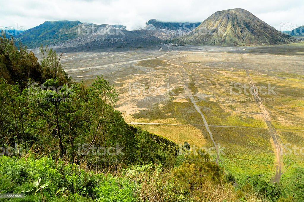 Caldera of Bromo Volcano stock photo