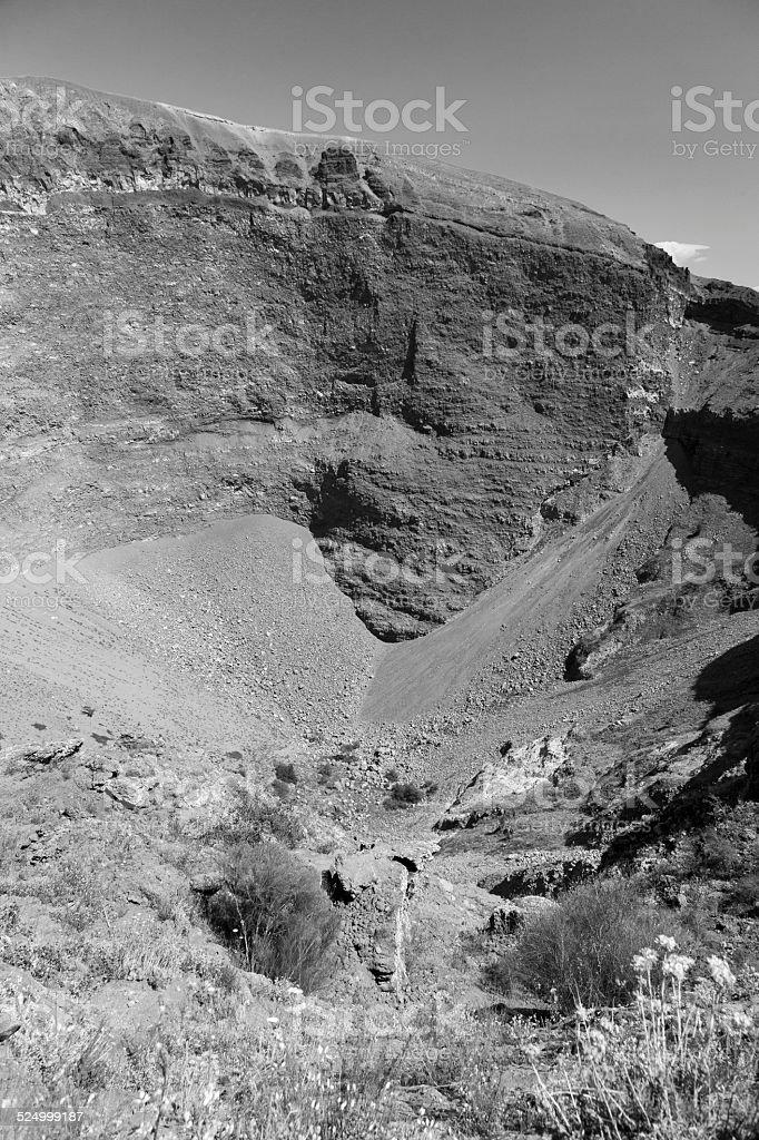 caldera of Europe's famous volcano, Mount Vesuvius (black and white) stock photo