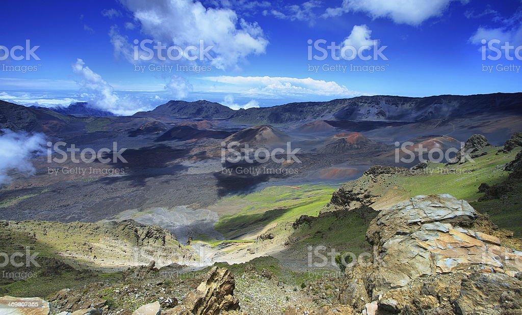 Caldera of the Haleakala volcano in Maui island stock photo