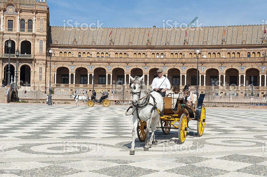 Caleche in Plaza de Espana Seville royalty-free stock photo