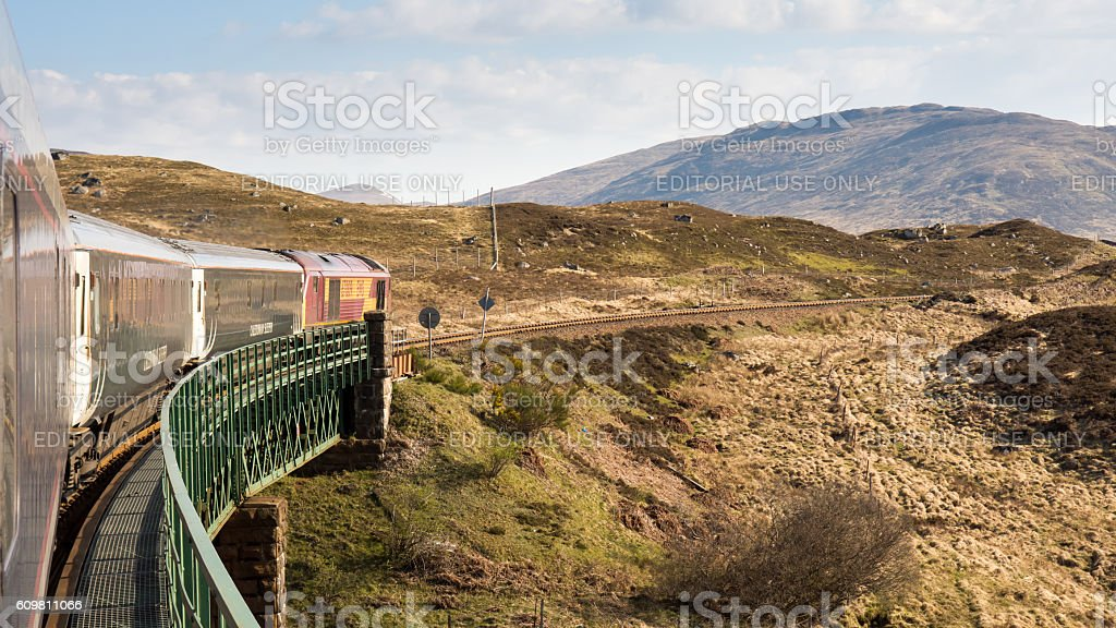 Caledonian Sleeper crossing Rannoch Viaduct stock photo