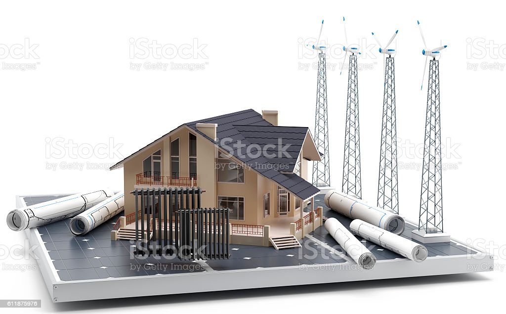 Calefacción a través de la energía eólica para uso doméstico. stock photo